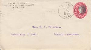 United States Nebraska Crete 1899 cork killer  Postal Stationery Envelope  Co...