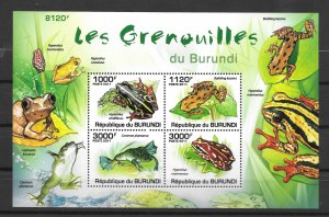 Burundi MNH S/S 906 Frogs 2011 SCV 15.00