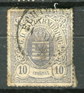 LUXEMBOURG; 1860s early classic Imperf issue fine used 10c. value