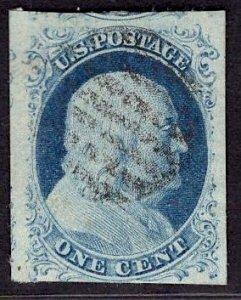 US Stamp #9 1c Franklin Imperf USED SCV $90++. Design clear on all sides!!!