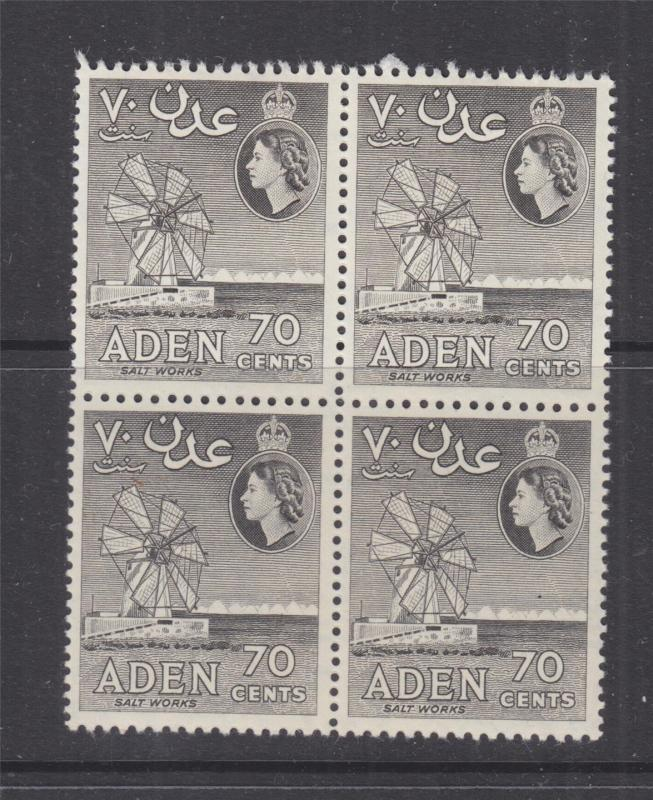 ADEN, 1953 QE, Script CA, 70c. Brown Grey, block of 4, mnh./lhm.