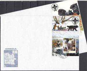 Angola, 2000 issue. Dogs on 3 s/sheets on 3 Large First day covers.