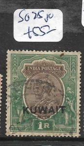 KUWAIT (P01003B)  ON INDIA KGV 1R  SG 25  VFU