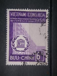SOUTH VIETNAM, 1958, used 6d, UNESCO. Scott 99