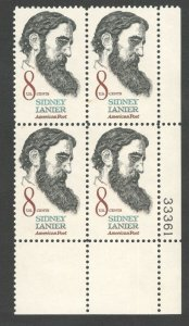 1446 Sidney Lanier Plate Block Mint/nh (Free Shipping)