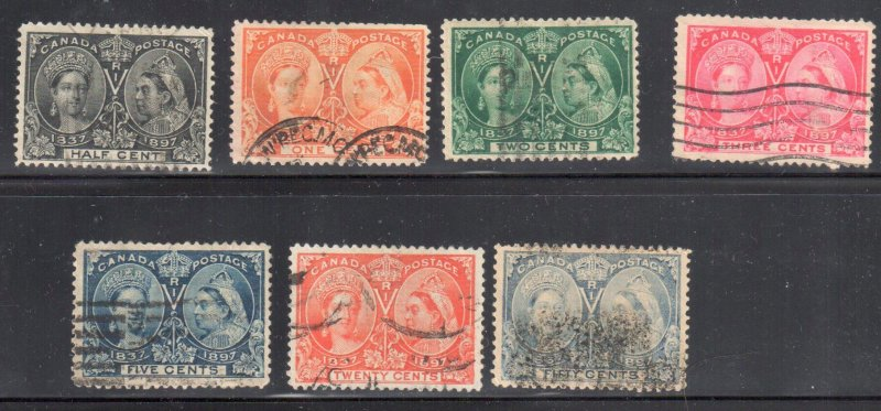 CANADA #50 to 54 + 59, 60 Used Jubilee C$725.00