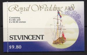 ST.VINCENT SGSB11 1981 ROYAL WEDDING MNH BOOKLET