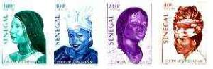 Senegal 1998 Women's Hairstyles set of 4 imperf from limi...