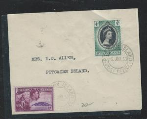 PITCAIRN ISLANDS (P1110B) 1953 QEII CORONATION+ KGVI 1D ON LOCAL COVER