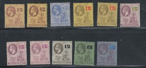 MONTSERRAT KGV ISSUES MH TO 2/6d WITH SHADE VARIETIES CAT VALUE???