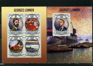 BURUNDI 2012 PAINTINGS BY GEORGES LEMMEN SHEET OF 4 STAMPS & S/S MNH