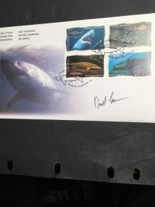 Canada USC #1644a Ocean Water Fish Block of Four Diff.tied on First Day Cover.VF