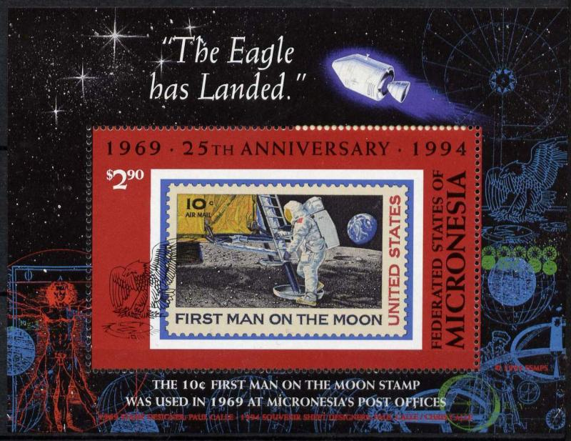 Micronesia C49 MNH Space, Moon Landing, Stamp on Stamp