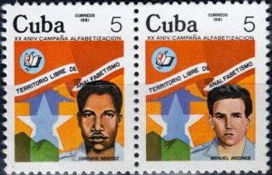 CUBA Sc# 2468a  LITERACY CAMPAIGN reading writing  SE TENANT SET of 2  1981 used