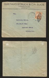 RG)1914 MEXICO, US OCUPATION, 5CTS. HIDALGO, VERACRUZ CIRCULAR CANC., BARREL CAN