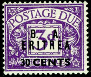 BRITISH OC OF ITALIAN COLONIES SGED9, ERITREA, 30c on 3d violet, M MINT. Cat £17