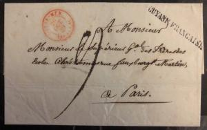 1839 French Guiana Paquebot Letter Sheet Cover To Paris France