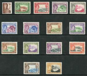 Dominica SG99/109a 1938-47 KGVI Set of 15 Wmk Mult Script CA M/M