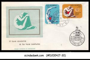 SAN MARINO - 1972 WORLD HEART MONTH - 2V - FDC
