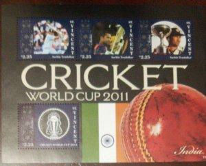 O) 2011 ST VINCENT, CRICKET WORLD CUP 2011, SACHIN TENDULKAR, INDIA, MNH