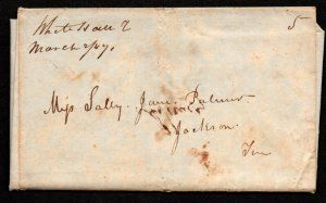 $Tennessee Stampless cover, White Hall March 1847 M/S cancel-Contents