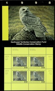 NORTHWEST TERR #2M 1998 SNOWY OWL CONSERVATION STAMP MINI SHEET OF 4 IN FOLDER
