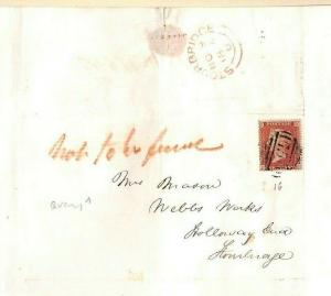 GB LETTER Stourbridge Undelivered *Not to be found* 1855{samwells-covers} MS3559