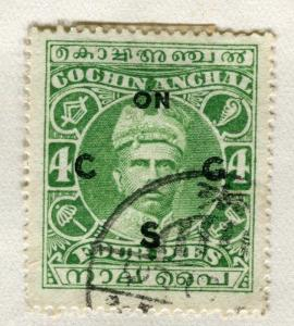 INDIA COCHIN;  1913 early SERVICE Optd. issue fine used 4p. value
