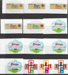 Tonga 337-41,C154-8, CO87-9,377-81,C194-8,CO108-10 vf, see desc. 2019 CV$77.90