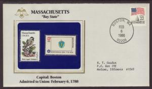 US Massachusetts State Flag,Bird and Flower Cover BIN