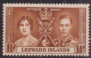 Leeward Islands 1937 KGV1 1 1/2d Brown Coronation MM SG 93 ( H1191 )