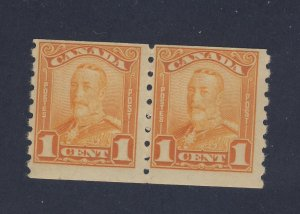 2x Canada Scroll Coil Stamps Pair of #160-1c MH Fine Guide Value = $40.00