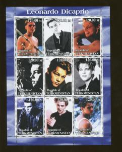 Turkmenistan Leonardo Dicaprio Commemorative Souvenir Stamp Sheet