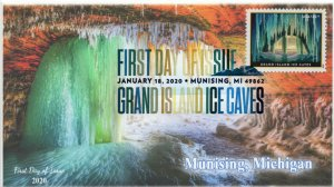 20-013, 2020,  SC 5430, Grand Island Ice Caves, Digital Color Postmark, FDC,