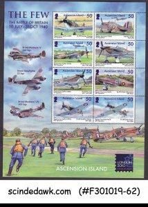 ASCENSION ISLAND - 2010 THE FEW THE BATTLE OF BRITAIN / AVIATION MIN/SHT MNH