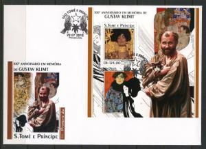 SAO TOME 2018  100th MEMORIAL ANNIVERS OF GUSTAV KLIMT PAINTING  S/SHEET FDC