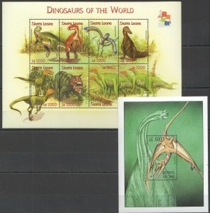 PK025 2001 SIERRA LEONE FAUNA DINOSAURS OF THE WORLD REPTILIES BL+KB MNH STAMPS
