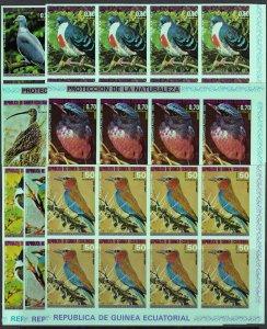 Equatorial Guinea 1976 Mi#A947/A953 BIRDS OF ASIA Block of 8 IMPERFORATED MNH