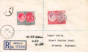 St. Kitts Nevis, Scott #82 and 84, Used on 1942 Registered Cover to England
