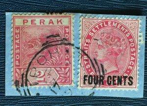 MALAYA 1899 STRAITS SETTLEMENTS QV + Perak tiger on paper SG#109&62 M2933C