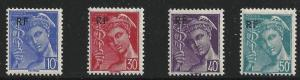 France Scott #499 to 502 (499-502), Mint, Four Stamp Complete Set, RF Overpri...