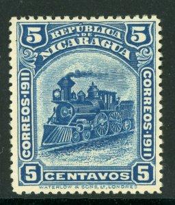 Nicaragua 1912 Bluefields  Waterlow Train 5¢ Scott 1L113 Mint W509