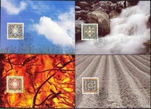 Liechtenstein 1994 Zodiac 4 Elements 4 Maxi Cards FDC
