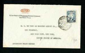 Mexico Cover 1920 w/ Stamp Advertising DuPont Co to NYC