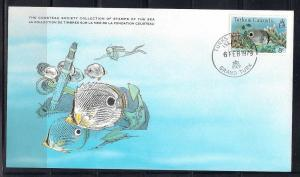 Turks Caicos FDC card Sc 466 Cousteau Soc Butterflyfish L95