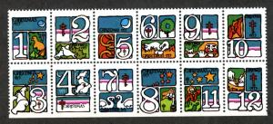 U.S. Scott WX250a 1973 Christmas Seals MNH Block of 12