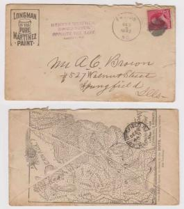 USA 192 Sc 219 PAINT DECO COVER TO SPRINGFIELD, IL F,VF
