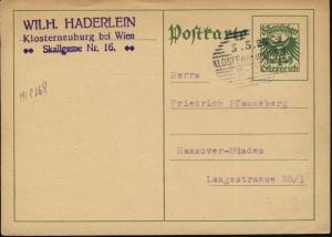 AUTRICHE / AUSTRIA 1925 MiP268 CARTE POSTALE 8Gr POSTAL CARD USED KLOSTERNEUBURG