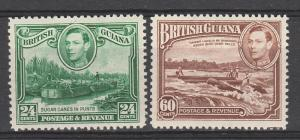 BRITISH GUIANA 1938 KGVI PICTORIAL 24C AND 60C