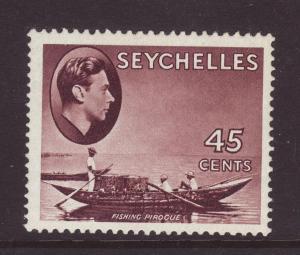 1942 Seychelles 45c Purple-Brown Ord Paper Mint SG143b